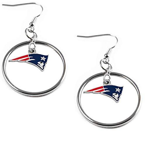 aminco NFL New England Patriots Charm Hoop Earring Set