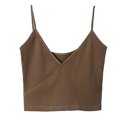 JUNKE Women Tank Top Bustier Bra Vest (free, Coffee) - Barbara Women Underwear