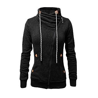 GotFeelin Asymmetrical Zipper Jacket Hoodie Women Turtle Neck Long Sleeve Sweatshirt (Color : Black,