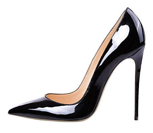 Women's BlackSuede Office Pointed Classic Pumps Heels High Toe on Pumps Slip heel Eldof 12CM Tadqq