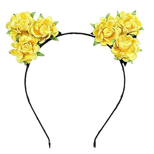 Auranso Rose Flower Devil Cat Ears Headband Costume Party Fancy Dress Cosplay Headdress -