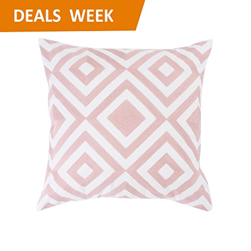 Home Brilliant Valentines Day Decorations Throw Pillow for Couch Embroidered Cushion Cover for Bed With Zipper, Geometric Design, 18x18, Blush Pink Pink Embroidered Pillow