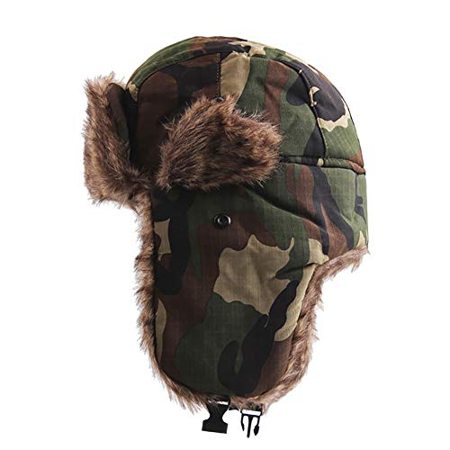 (FEDULK Winter Trapper Warm Hat Russian Style Camouflage Earmuffs Windproof Mask for Men and Women (D, One Size))
