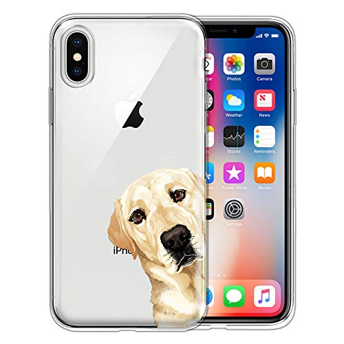 FINCIBO Case Compatible with Apple iPhone X XS 5.8 inch, Clear Transparent TPU Silicone Protector Case Cover Soft Gel Skin for iPhone X XS - Cream Labrador Retriever Dog Hide and Seek