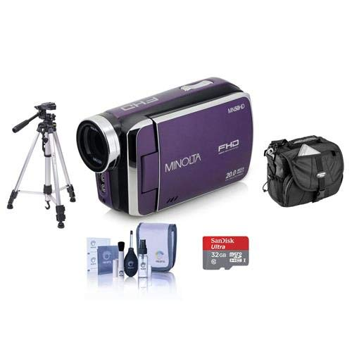 Minolta MN50HD 1080p Full HD 20MP Digital Camcorder, Purple - Bundle with 32GB MicroSDHC Card, Video Case, Tripod, Cleaning Kit