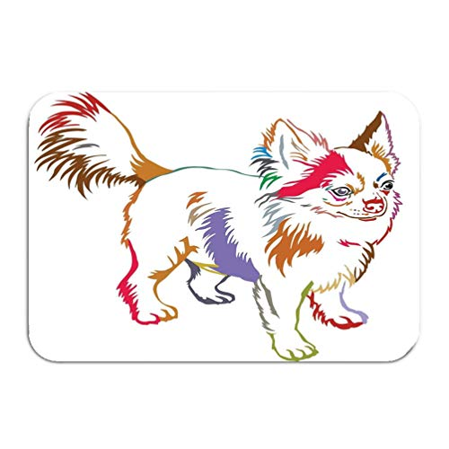 (wuhandeshanbao Outside Shoe Non-Slip Color Dot Doormat Colorful Contour Decorative Portrait Standing Profile Dog Long haired Chihuahua Isolated White Mats Entrance Rugs Carpet 16 24 inch)