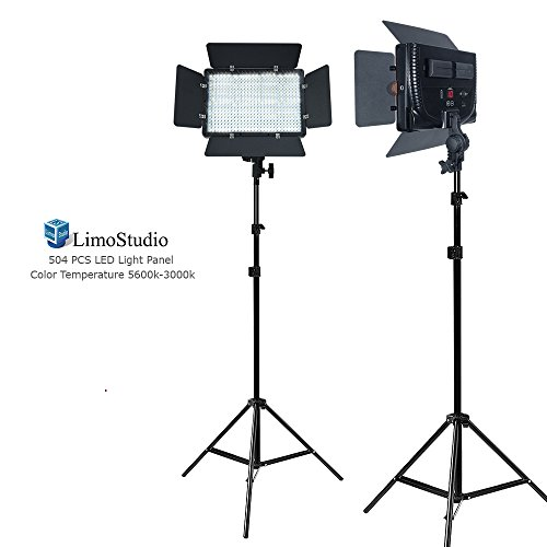 LimoStudio [2 Pack] LED Barn Door Light Panel, Dimmable Brightness Control, Color Temperature Control, Continuous Lighting Kit, AC Power Cord, Light Stand Tripod, AGG2225V2 by LimoStudio