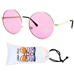 V129-vp Round Oversize Lens Metal Sunglasses (B3317F Gold-Candy Pink, uv400)
