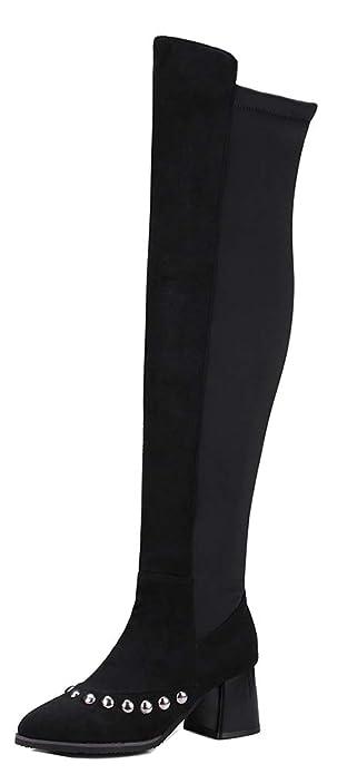 Easemax Femme Fashion Genou Bout Pointu Cuissarde Bottes avec Rivets Noir  32 EU 0e0cacb82cfe