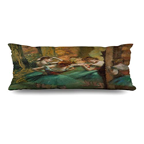 Ahawoso Body Pillows Cover 20x60 Inches Ballet Brown Painting Dancers Pink Green by Edgar French Degas Orange Impressionist Years Old Design Zippered Cushion Case Home Decor Pillowcase