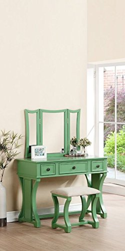 Magnificent Poundex Bobkona Edna Vanity Set With Stool Apple Green Pabps2019 Chair Design Images Pabps2019Com