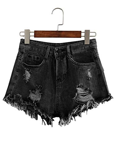 - UUpipa Women's Juniors Mid Rise Bleach Wash Denim Shorts Distressed Ripped Jean Shorts