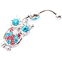 WOWOHE 14g Multicolor Owl Dangling Belly Button Navel Ring Body Piercing Jewelry