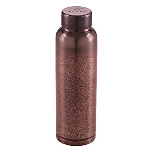 Attro Aarogyam Ozone Vintage Finish Joint-less Copper Water Bottle,1000 ml