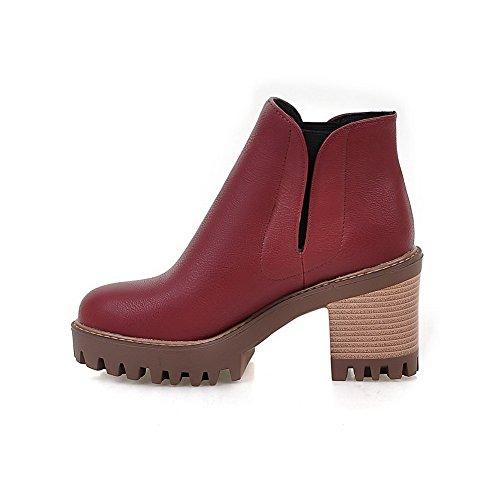 AgooLar Damen Ziehen auf Wasserdicht Plattform Rein Knöchel Hohe Stiefel mit Naht Weinrot