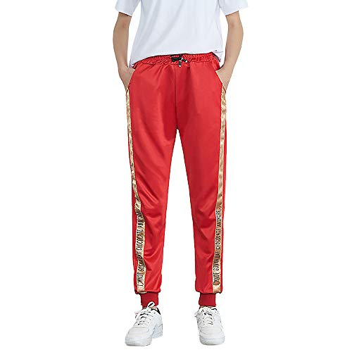 DEATU Ladies Trousers, Womens Mid-Waist Casual Striped Multi-Choice Jogger Sports Pants Harem Pants Trousers(Red4,XXL)