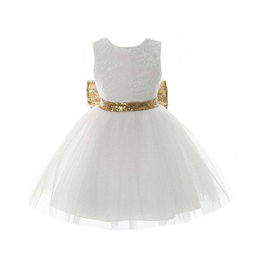 IIYoYo Baby Girls Kids Big Bowknot Flower Dresses (White, 18-24M)