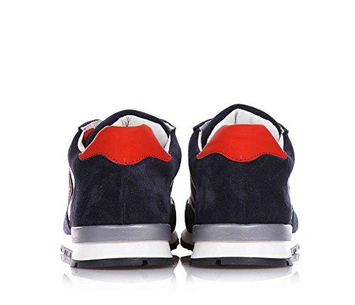 4US - Zapatilla deportiva de cordones azul, en crosta y cuero, Niño, Niños