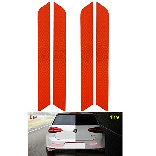 Reflective Tape Caution Warning Safety Reflector Strips Sticker Fluorescent Waterproof Reflective Car Decals for Automobile Car Pickup Truck SUV RV Boat Motorbike Helmet (Red, 10.7-in x 1.2-in)
