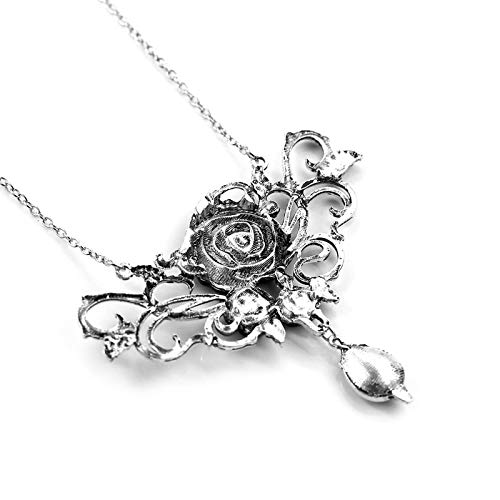 Necklace for Men Vintage Black Rose Purple Crystal Necklace Noble Big Charm Rose Pendant Necklace For Women Fashion Jewelry Collar