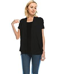 Women's Soft Drape Cardigan Short Sleeve Made In USA(Size :S-5X)