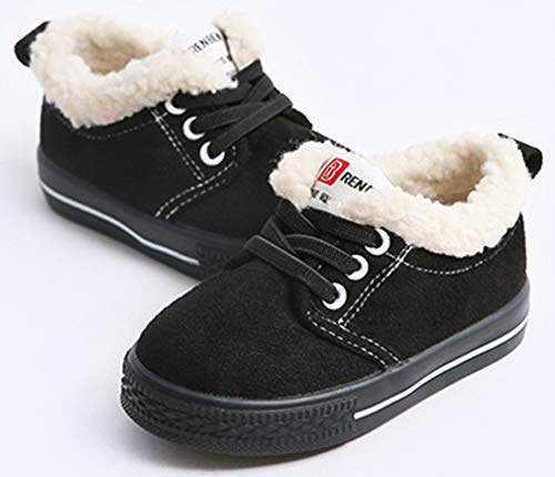 VECJUNIA Boy's Girl's Casual Thicken Flats Shoes Low Top Snow Boots (Black, 10 M US Toddler) by VECJUNIA (Image #2)