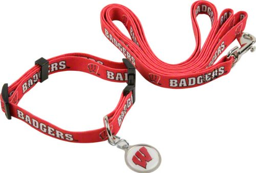 (Medium) Hunter University of Wisconsin Pet Combo Set (Collar, Lead, ID Tag)