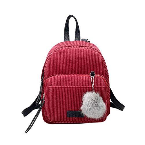 Girl Mini Backpack Women Ball Solid Color Corduroy Small Backpack Teenage Travel School Bag,Burgundy