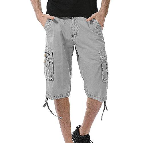 (Men's Pants - Benficial Multi-Pocket Versatile Twill Cargo Capri Shorts Active Normal Waist Loose Gray)