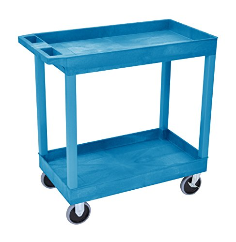 LUXOR EC11HD-BU Cart, High Capacity 2 Tub Shelves, Blue ()