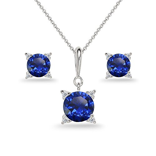 Sterling Silver Created Blue Sapphire Studded Solitaire Necklace & Stud Earrings Set