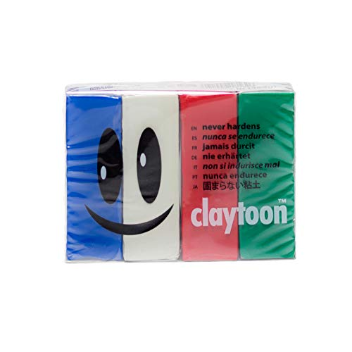 Van Aken International - Claytoon - Non-Hardening Modeling Clay - VA18162 - Holiday - Blue, White, red, Green - 1 Pound Set (4-1/4 Pound Bars) - claymation, Gluten-Free, Non-Toxic
