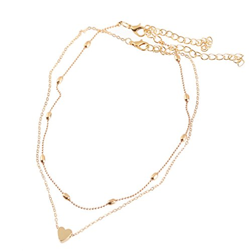Layer Necklace Set - Luckyblue Heart Pendant Choker Necklace Set Multilayer Layers Chain Clavicle Necklace Jewelry for Women Ladies (Gold)