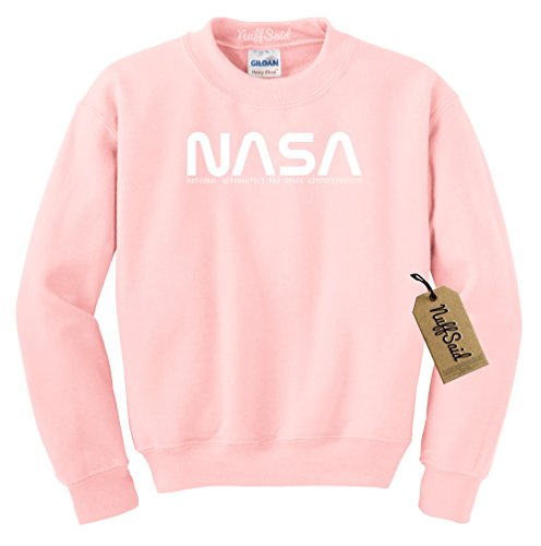 NuffSaid NASA Font Logo Crewneck Sweatshirt Sweater Pullover - Unisex Crew (Medium, Light Pink) ()