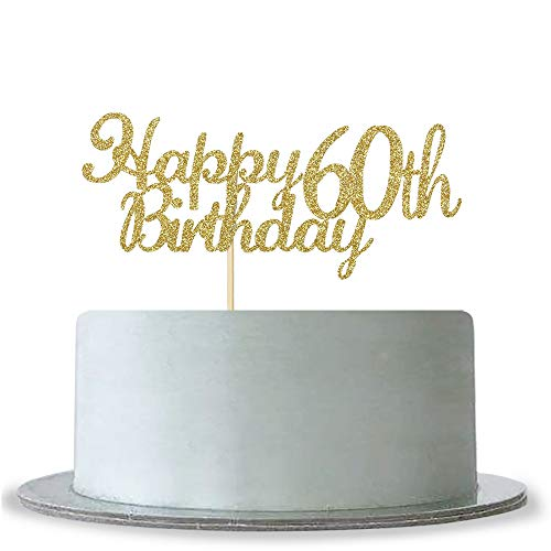 WeBenison Happy 60th Birthday Cake Topper, Gold Glitter Cheers to 60 Years- Hello 60 Retirement Party Cake Topper - Anniversary Party Decoration ()
