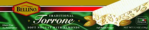 Almond Candy Nougat - Bellino Torrone (Soft Nougat) with Almonds, 5.3 Ounce Box