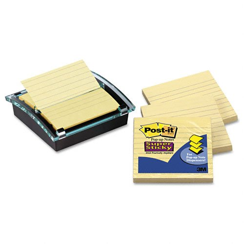 Post-it : Super Sticky Pop-Up Note Dispenser/Value Pack, 4x4 Self-Stick Notes,Black -:- Sold as 2 Packs of - 3 - / - Total of 6 Each by Post-it
