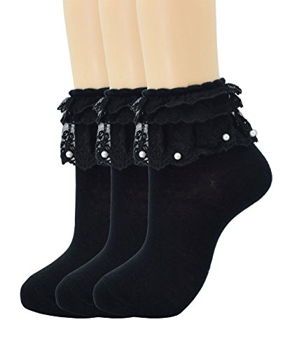Women Lace Ruffle Frilly Ankle Socks Fashion Ladies Girl Princess H06 (3 pairs-black)