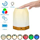 KMASHI Touch Lamp, Touch Bedside Lamp for Bedrooms, LED Rechargeable Portable Night Light with Dimmable 2800K-3100K Warm White Light, Color Changing RGB, Timer Setting