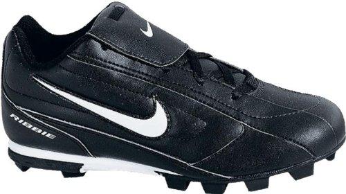 Bg Nike Ribbie Jr 309303-011 Black White Lace-up Baseball Cleats Kids 4.5, Black