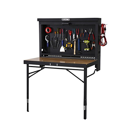 Lifetime Products Wall Mounted Work Table, 4', Wood (Fold Down Workbench)