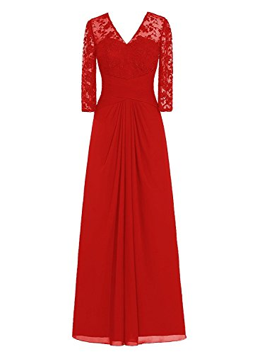 Neggcy Chiffon V Neck Evening Dresses Prom Gown Mother Of Bride Wedding Dress Red 2