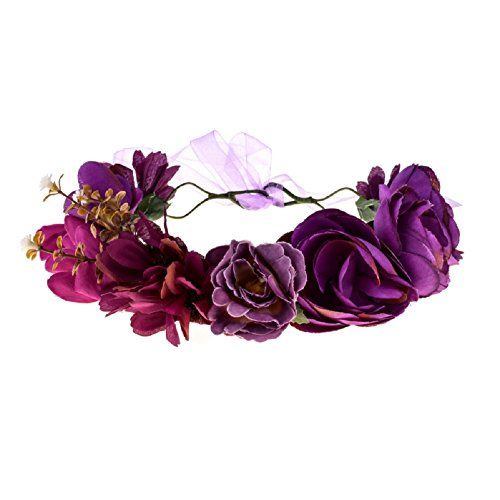 Love Sweety Women Flower Wreath Headband Floral Crown Garland Halo (Purple)]()