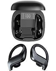 Flameer TWS Bluetooth 5.0 Sem Fio Fones de Ouvido, esporte Fones de Ouvido com Ganchos de Orelha IPX5 Stereo Som Fones de Ouvido com Display LCD À Prova D'