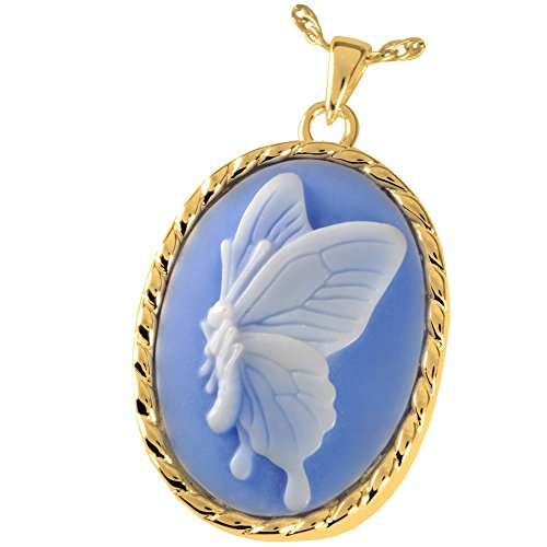 Memorial Gallery MG-3514GP Sky Blue Butterfly 14K Gold/Sterling Silver Plating Cremation Pet Jewelry by Memorial Gallery