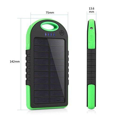 UNUM Solar Charger Power Bank New Universal 5000mAh Dual USB Port iPhone Android Samsung GoPro GPS Charging Bank SB001 UNUM (Green)