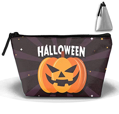 Scary Halloween Pumpkin Makeup and Toiletry Bag Tote, Cosmetic and Beauty Train Case Great for Travel and Gift]()