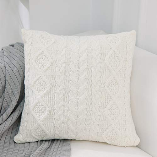 iHogar Cushion Case Covers Knitted Throw Pillows Covers Christmas Thanksgiving Home Decor Cotton Soft Square Pillowcase for Sofa Bedroom Office Car, Off White 18x18 Inch 45cm (Throw Pillows Off White)