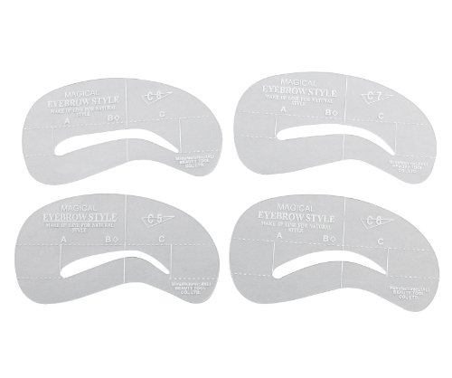 picture regarding Printable Eyebrow Stencil titled 4 Alternate Dimensions Eyebrow Grooming Stencil Package Template Deliver Up Shaping Do-it-yourself Applications