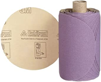 "3M Stikit Paper Disc Roll 735U, PSA Attachment, Ceramic Aluminum Oxide, 5"" Diameter, P180 Grit (Roll of 100)"